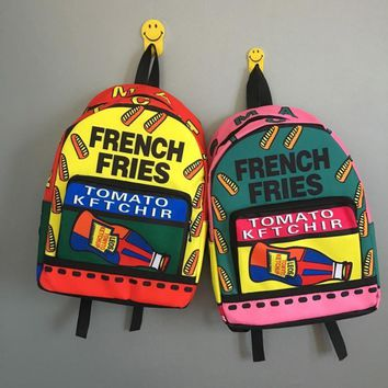 2017 NEW fashion harajuku french fries pressurized bottle Backpack men's Retro spell schoolbag women's travel shoulder bag