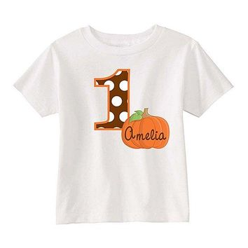 Pumpkin Number Personalized Halloween White T-Shirt