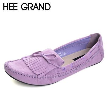 hee grand candy color women loafers tassel fashion round toe ladies flat shoes woman s  number 1