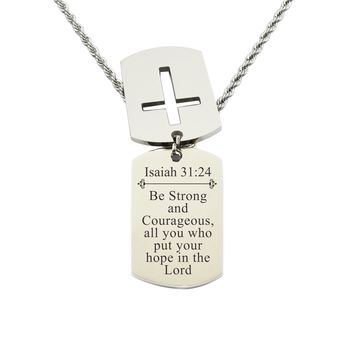 Mens Scripture Double Tag Necklace - Isaiah 31:24