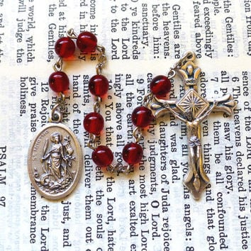 St. Martha Chaplet - Saint Chaplet, Catholic, Ruby Red Czech Glass Beads