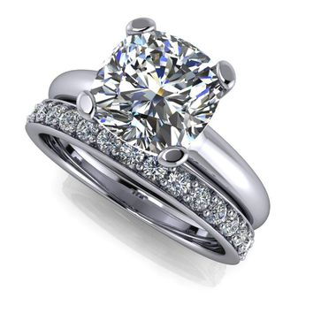 Diamond Wedding Band and Solitaire Bridal Set - Celestial Premier Moissanite Ring - Customize