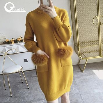 Casual Famale Long Sweater Dress Real Rabbit Fur Pull women long Sleeve Sweaters pink Pullovers Knitted Sweater Dresses Winter