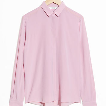 Straight Fit Silk Shirt - Pink - Shirts - & Other Stories US