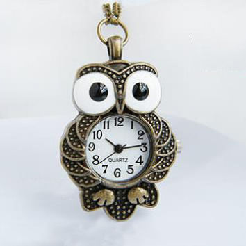 Watch 102: Pocket Watch, Owl Necklace Watch, Stainless Steel Watch, Best Chosen Gift
