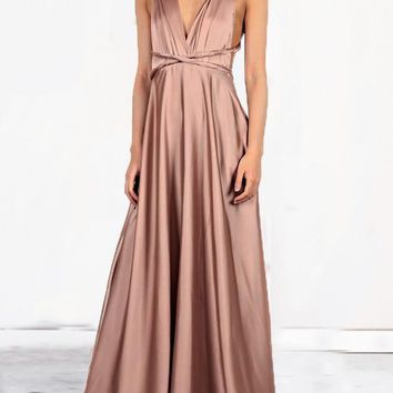 New Coffee Sashes Cross Back Backless Draped Plunging Neckline Sleeveless Elegant Maxi Dress