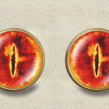 "Inspired by The Lord Of the Rings ""Eye of Sauron"" stud post earrings Lord of the Rings stud post earrings"