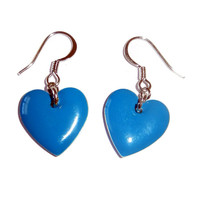 Blue Heart Enamel Drop Epoxy Charm Earrings