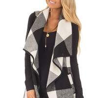 Black and White Plaid Waterfall Vest with Pockets
