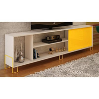 Eye-catching Nacka TV Stand with 4 Shelves and 1 Sliding Door in a White Frame & Door