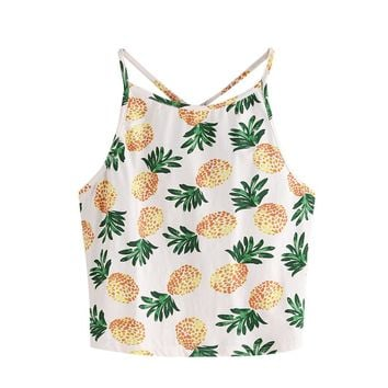 Women Pineapple Print Crop Top
