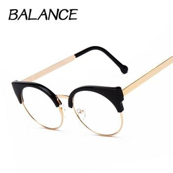 Women cat eye Plain Glasses half Frame Clear lens round Eyeglasses Sexy Cat's Eye Vintage Glasses frames Brand Designer Glasses