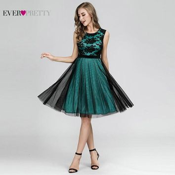 Lace Homecoming Dresses Short Ever Pretty A-Line Sleeveless Tulle Formal Party Dresses EZ03091DG Elegant Appliques Satin Gowns