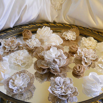 "20 Handmade Natural Burlap & Ivory Lace Flowers for weddings, bouquet making, wedding decor, cake toppers, gifts, crafts ""Ready to Ship"""