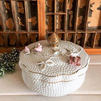 Vintage Porcelain, Jewelry Box, Lidded Candy Dish, Porcelain Candy Dish, Floral Jewelry Box, Vintage Hobnail, Norcrest Vintage, Lefton China