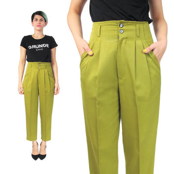Vintage 80s High Waisted Trousers Avocado Green Pants Pleatd Pants Tapered Leg Cropped Tailored Trousers Bright Womens Pants Pockets (XS)