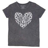 Daisy Heart Graphic Tee Charcoal