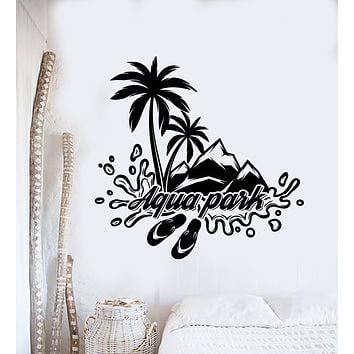 Vinyl Wall Decal Aqua Park Water Beach Style Palms Mountains Stickers Mural (g962)
