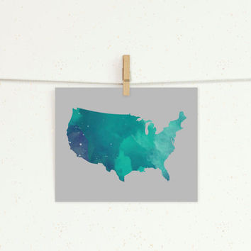 Space USA 8x10 Print // Home Decor // USA Print // Map Decor