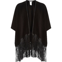 River Island Womens Black faux suede leather-look tassel cape