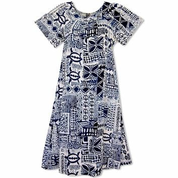 Kaena Cream Hawaiian Rayon Tea Muumuu Dress
