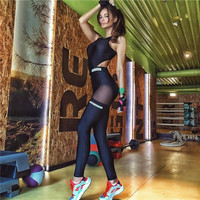 Fashion Gauze Letter Print Running Gym Sport Romper Jumpsuit