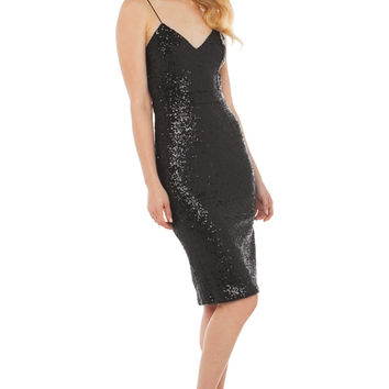 Rehab Shine On Backless Sequin Dress in Black