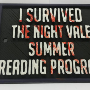 "Night Vale ""I Survived the Night Vale Summer Reading Program"" Sign 4"" x 3"" x 3/16"" Inspired by the Night Vale Podcast Pub Bar Decor"
