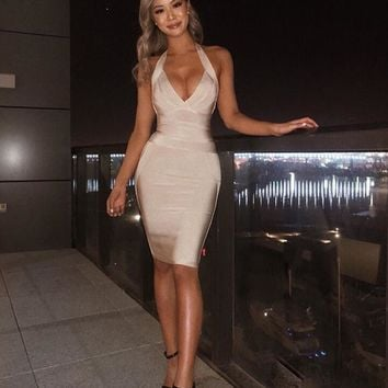 4 Colors Sexy V Neck Halter Beige Pink Thick Rayon Bandage Dress Designer Mini Party Dress for Women