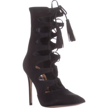 Steve Madden Piper Pointed Toe Lace Up Boots, Black, 7 US