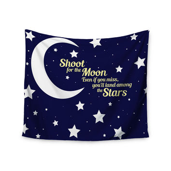 "NL Designs ""Moon And Stars Quote"" Blue White Wall Tapestry"