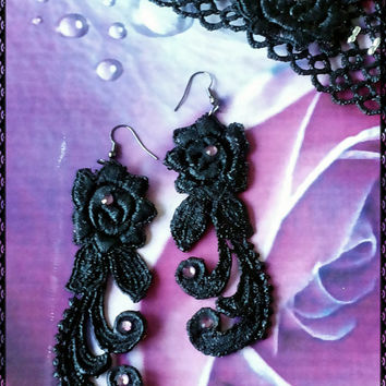 Handmade OOAK stiffened black lace and purple crystals long dangle flower  earrings