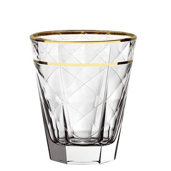 Majestic Gifts E64431-D-S6 Quality Glass Double Old Fashioned Tumbler with Gold rim 11.5 oz. Set of 6