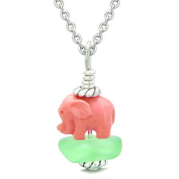 Sea Glass Mint Green Frosted Cloud Pink Elephant Lucky Charm Magic Amulet Pendant 22 Inch Necklace