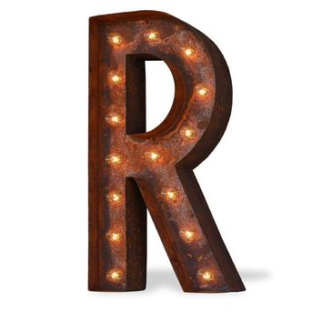 "36"" Letter R Lighted Vintage Marquee Letters (Modern Font/Rustic)"
