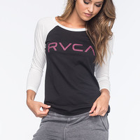 Rvca Big Rvca Womens Raglan Tee Black/White  In Sizes