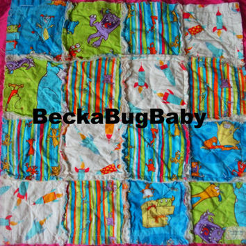 CLEARANCE 50% OFF Boogie Monsters in Blue and Green Rag Quilt Lovey Security Blanket by BeckaBugBaby on Etsy