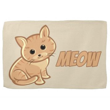 Tan Brown Cute Cat Kitchen Towel