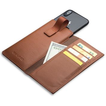 Leather Bag Case For iPhone Genuine Leather Cover For iPhone X Wallet Pouch Card Slot Luxury Phone Bag Case 5.8 inch