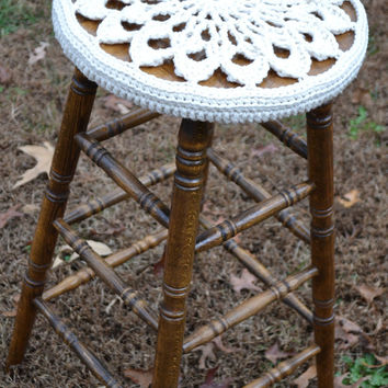 Crochet Stool Cover Made to Order Doily Style Granny Square Littlestsister