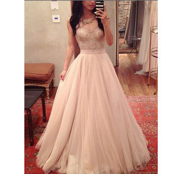 Strapless Lace Tulle A-Line Prom Dresses,Prom Dress