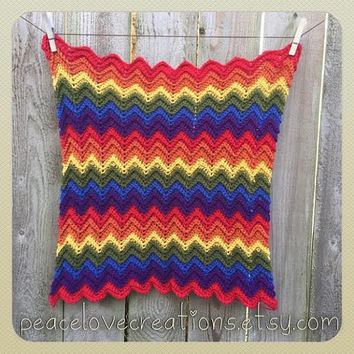 Crochet Rainbow Chevron Baby Security Blanket~Ready to Ship~FREE SHIPPING