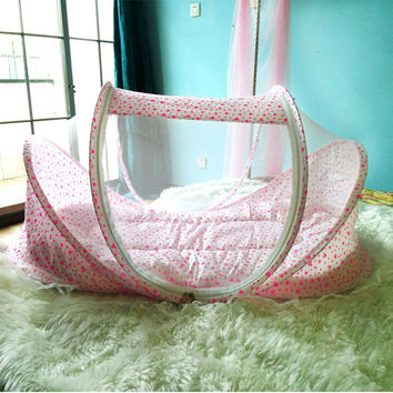 4PCS Set Cotton Portable Baby Bed With Mosquito Netting Pillow Mat Set Collapsible Newborn Infant kids Children Baby Crib Cradle
