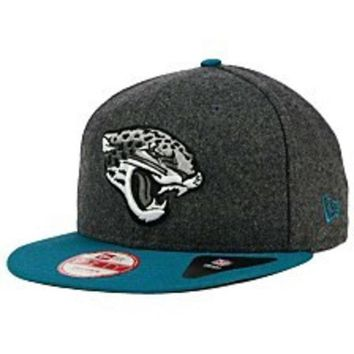 ESBON NFL Jacksonville Jaguars Mens Fitted Grey Silver And Teal New Era Fitted Hat