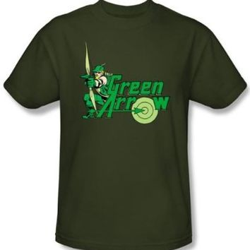 Green Arrow T-shirt - Green Arrow DC Comics Adult Military Green Tee, Large