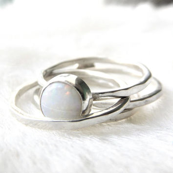 Opal ring-Opal stacking ring- Silver stacking ring- Sterling silver opal stackable - Stackable ring- October birthstone- Opal- Gift