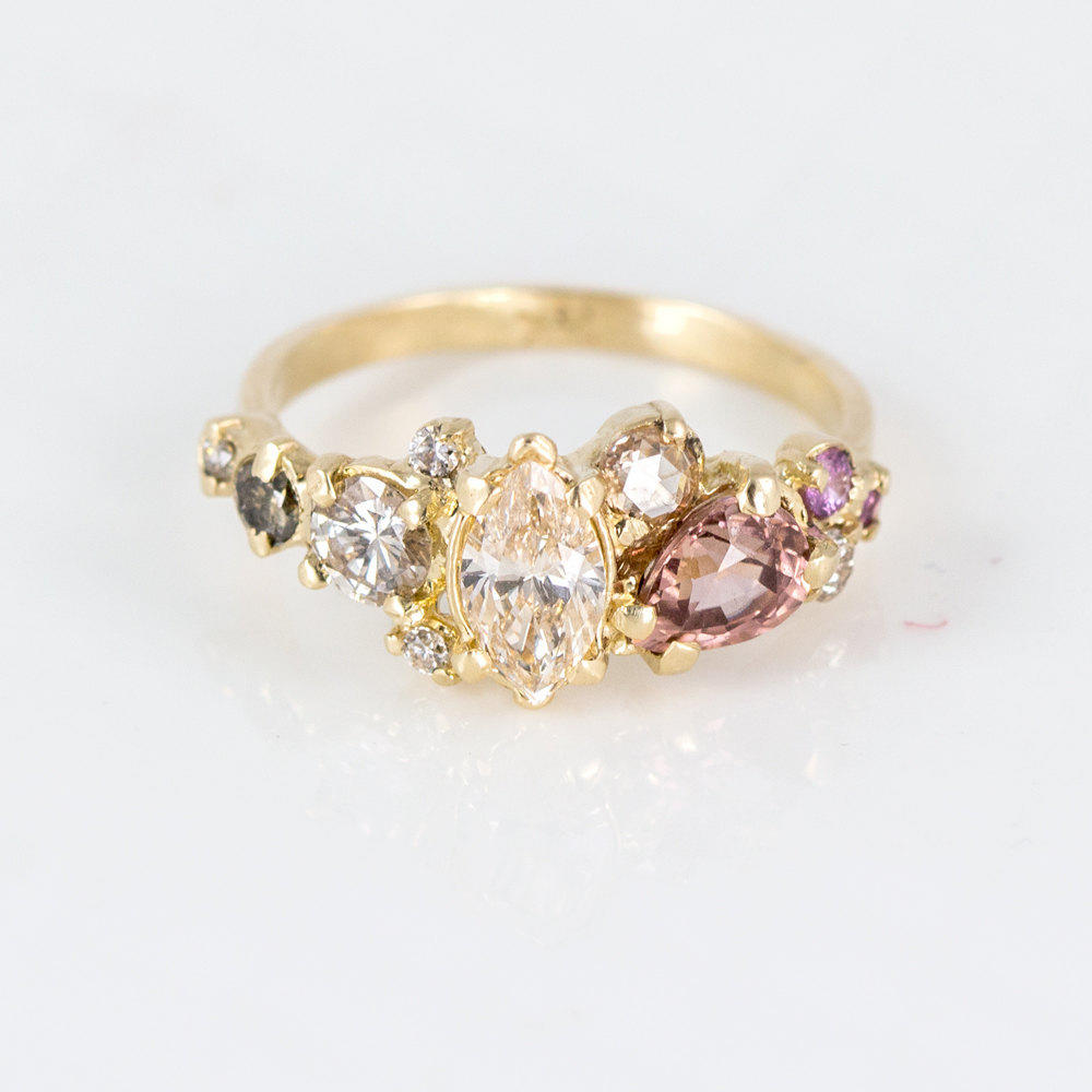 Blush Cluster Ring With Champagne And From Melanie Casey