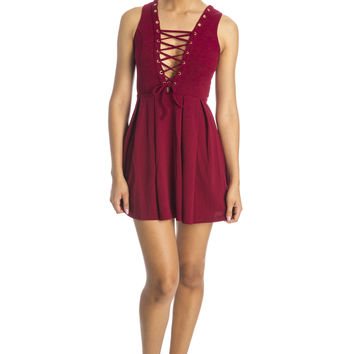 The Leila Dress -Burgundy ed