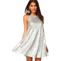 Silver Casual A-Line Party Dress