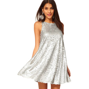 Silver A-Line Party Dress
